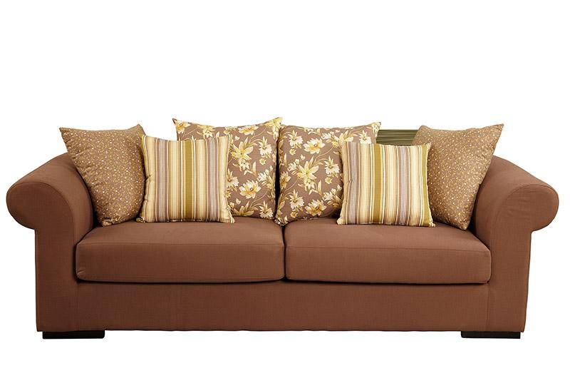 canapea maron cu perne